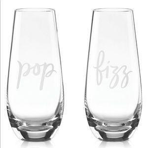 New 2 Kate Spade Lenox Pop Fizz Champagne Glasses